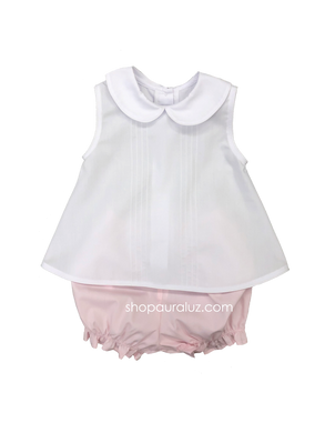 Auraluz Girl Sleeveless 2pc...Pink/white with tucks