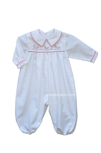 Auraluz Boy Longall...White with red check trim and embroidered rocking horses