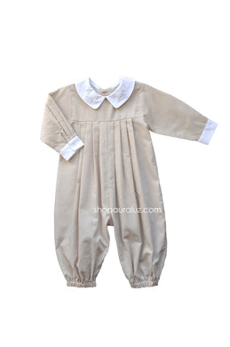 Auraluz Corduroy Longall...Tan with boy collar and embroidered rocking horses