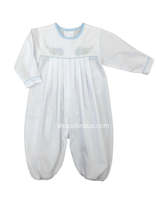 Auraluz Boy Longall, l/s...White with blue binding trim and  embroidered fire trucks