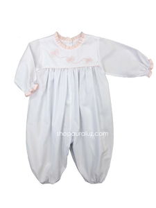 Auraluz Girl Longall, l/s...White with pink ruffle trim embroidered bows