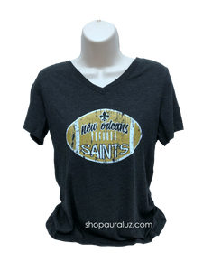 Ladies s/s V-Neck Tee...NOLA Football