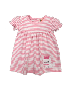 Pink Stripe Knit Dress with kitty/bow applique