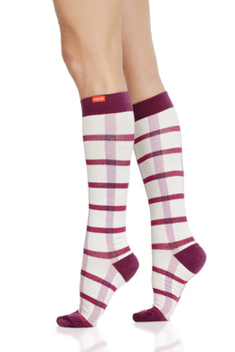 Block Plaid: Cream & Raspberry (Cotton) compression socks