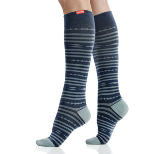 Global Stripe: Dark Blue (Cotton) compression socks