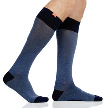 Load image into Gallery viewer, Heathered Collection: Navy (Cotton) compression socks