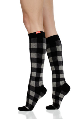 Montana Plaid: Heathered Grey (Cotton) compression socks