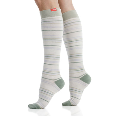 Serenity Stripe: Lavender & Sage (Cotton) compression socks