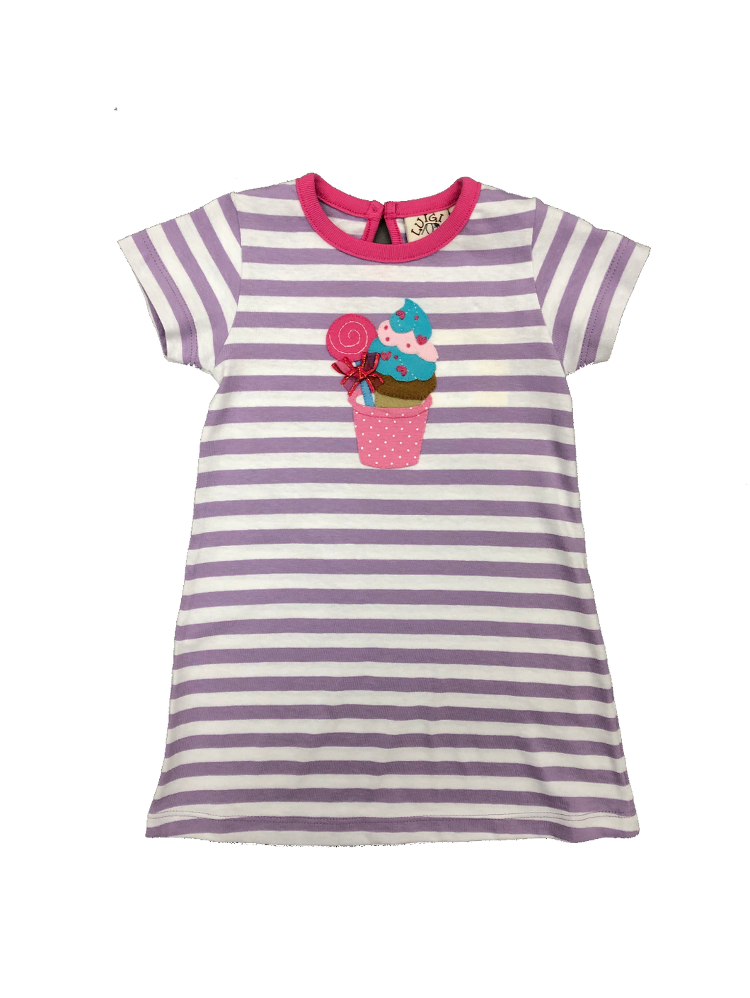Lavender Stripe Knit Dress-Sweets applique