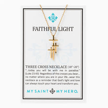 Load image into Gallery viewer, Faithful Light Three Cross Necklace