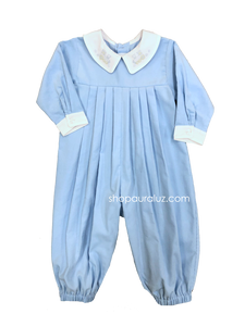 Auraluz Corduroy Longall...Blue with boy collar and embroidered train