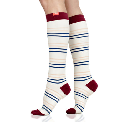Fresh Stripe: Cream & Peach(Nylon) compression socks