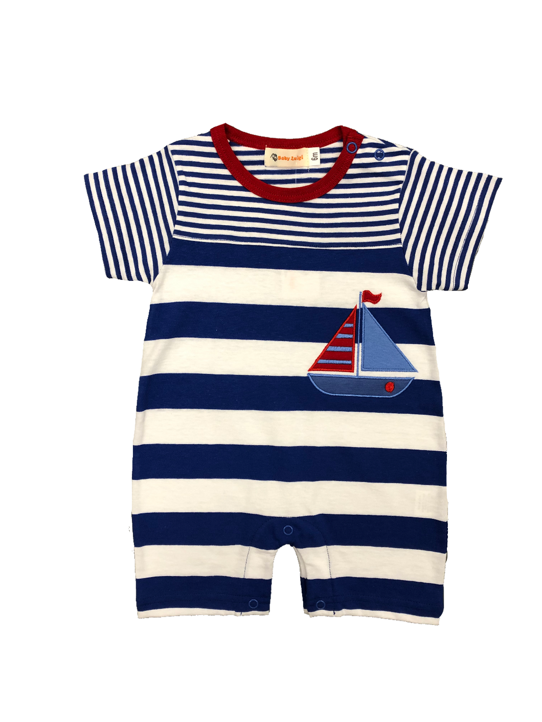 Royal Stripe Romper-Boat Applique