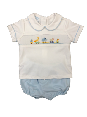 Boy 2pc Knit Short Set with smocked animal train