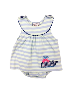 Stripe Knit Girl Bubble with whale applique