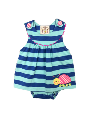 Stripe Knit Girl Bubble with ladybug applique
