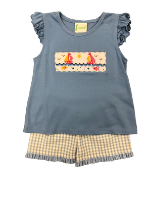 Girl 2pc Short Set with smocked fish and boats