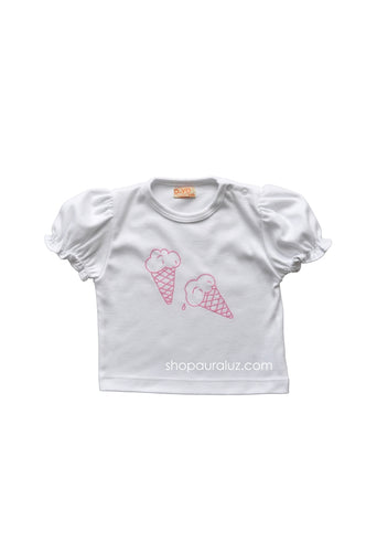 p..yo Knit T-Shirt Ice Cream-Pink