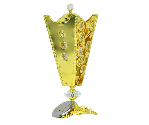 Arabia Incense/Bakhoor Burner (Mabkhara) -Oud Burner, Metal,Tray Inside 10 inch Tall (Golden)