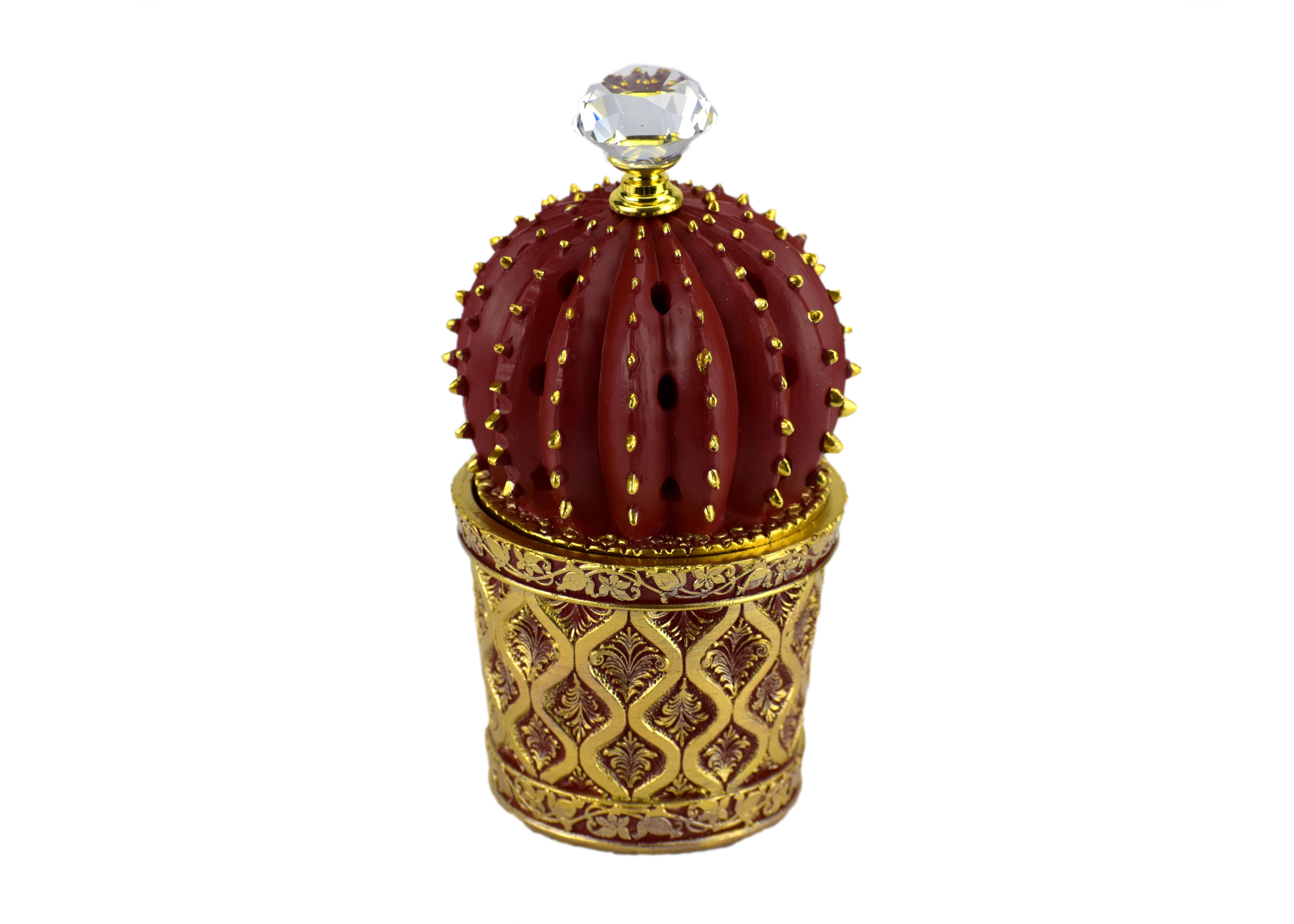 Succulent (Cactus) Style Closed Incense Bakhoor Burner - Red - Intense oud
