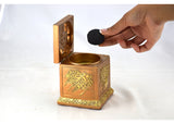 Calligraphy Cube Style Closed Incense Bakhoor Burner- Gold - Intense oud