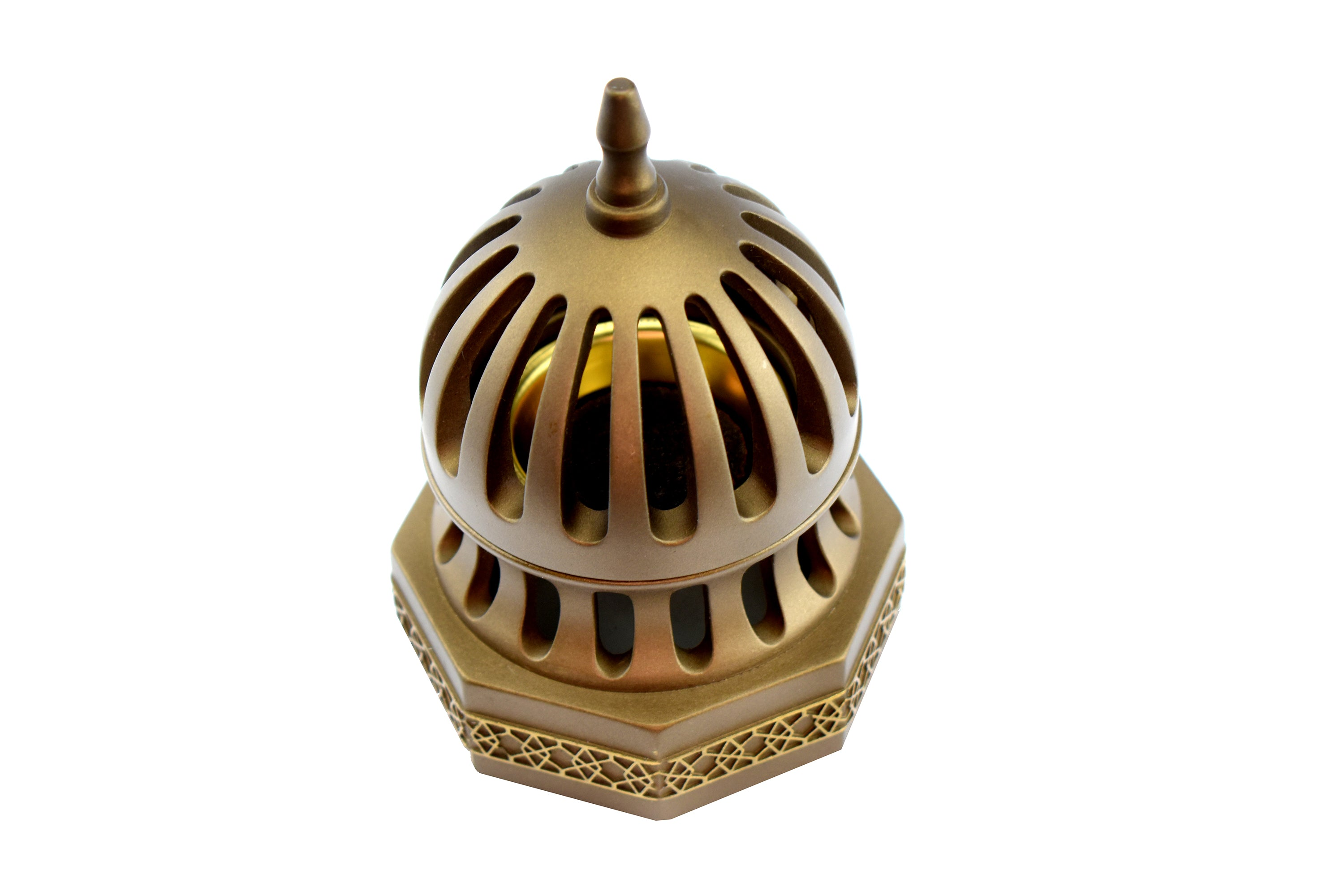 Classic Traditional Dome Style Closed Incense Bakhoor Burner - Gold - Intense oud