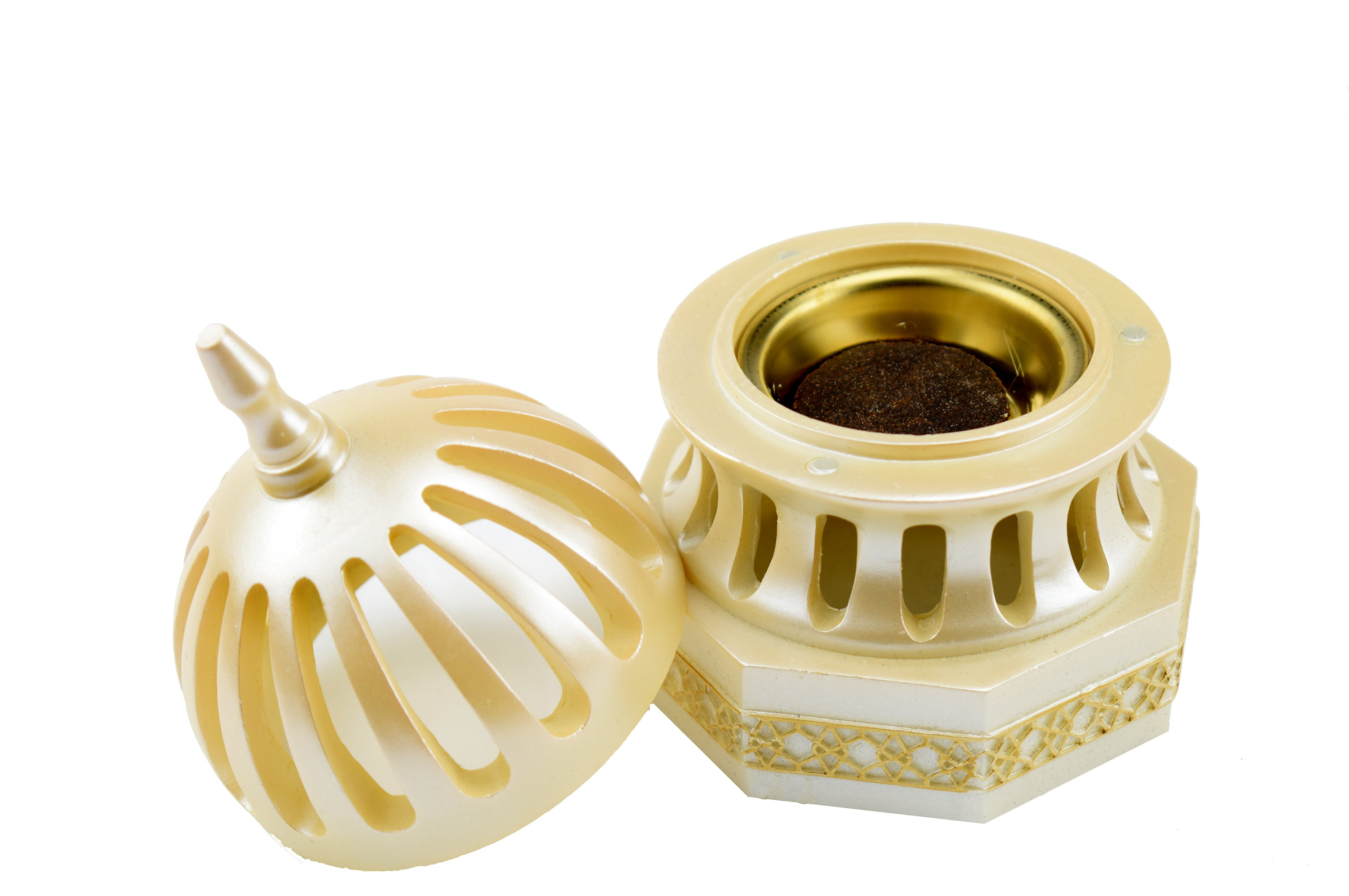 Classic Traditional Dome Style Closed Incense Bakhoor Burner - Beige - Intense oud