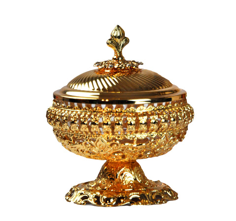 Arabia Incense/Bakhoor Burner (Mabkhara) - Oud Burner, Metal, Tray Inside - 5 inch tall (Golden)