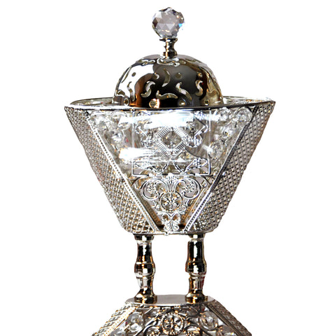 Arab Incense Bakhoor Burner - 9 inch Silver by Intense Oud