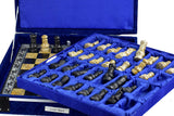 Handmade Classic Onyx Marble Chess Board Game Set- 12in with Blue Box - Coral Black - Intense oud