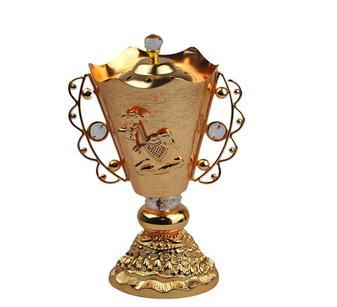 Arab Incense Bakhoor Burner - 8 inch Golden by Intense Oud
