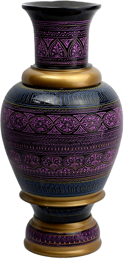 Lacquer Art Decorative Vase, Handmade Artisan Work. Modern Colorful Engraved Pakistani Decor. 16 Inch Long (Purple) - Intense oud