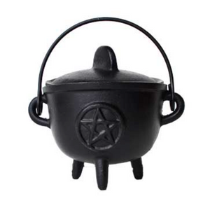 "5"" Cast iron cauldron w/ lid Pentagram"