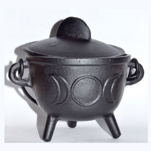 "5"" Cast iron cauldron w/ lid Triple Moon"