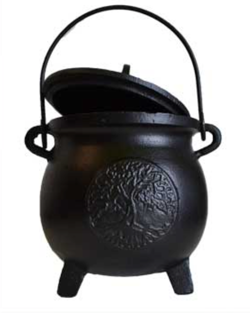 "6"" Tree of Life cast iron cauldron w/ lid"