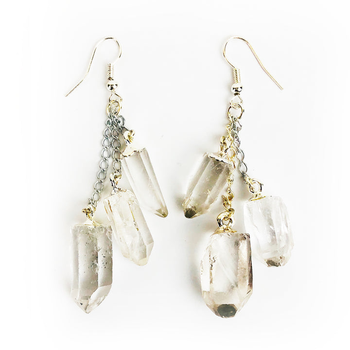 Clear Quartz Chandelier Earrings