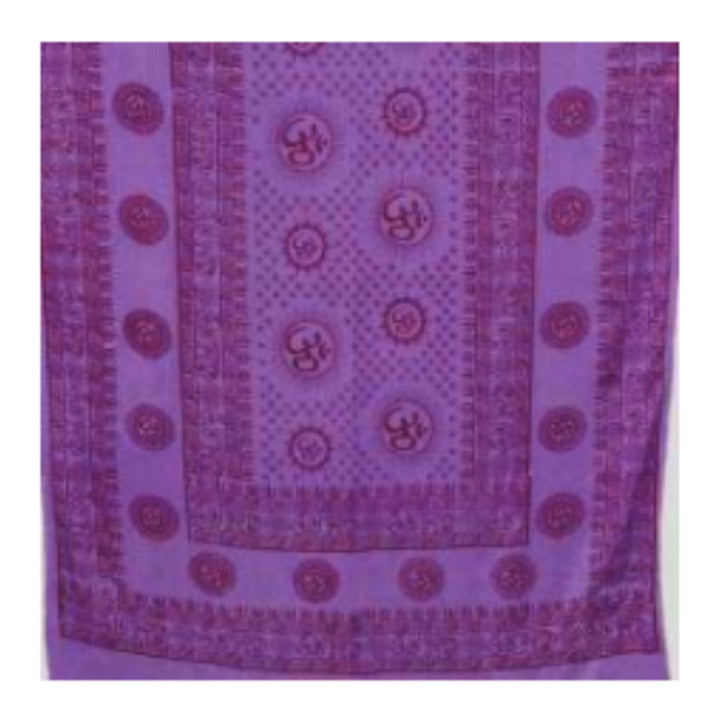 "Om  44""x 87"" purple prayer shawl"