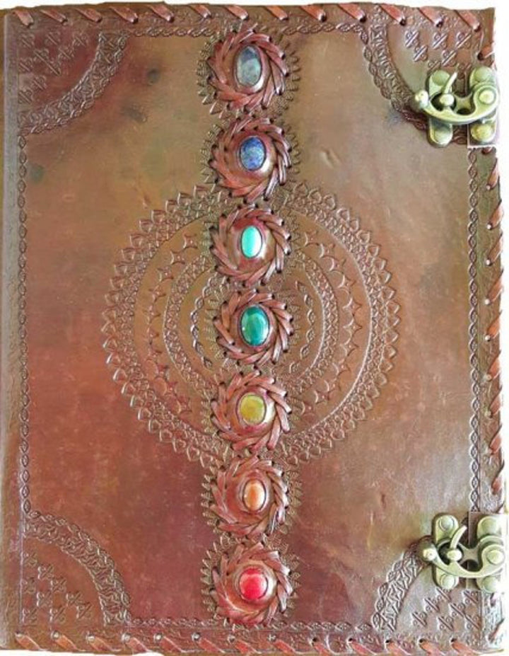 "10"" x 13"" Chakra leather blank book w/ latch"