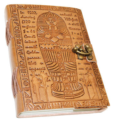 "5"" x 7"" Egyptian Embossed leather w/ cord"