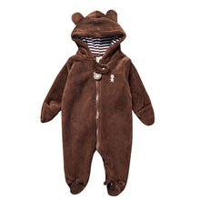 Load image into Gallery viewer, 2017 Autumn Winter Baby Rompers Bear style baby coral fleece Hoodies Jumpsuit baby girls boys romper newborn toddle clothing