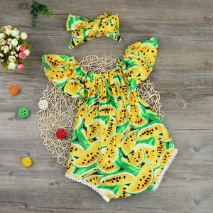 Baby girls set Infant Baby Girl Off Shoulder Print Romper Jumpsuit Headband Outfit Clothes Set kids clothes