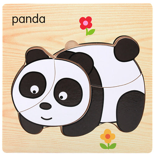 Lovely Wooden Toys Building Blocks For Baby Educational Montessori Jigsaw Puzzel For Children 3 years Animal Baby Training JA25a