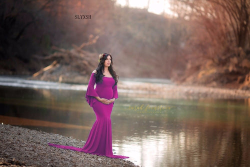 SLYXSH Women Mermaid Skirt Maternity Photography Props Gown Pregnancy Lace Dresses For pregnant Photo Shoot Clothing