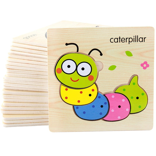FoPcc Baby 3D Puzzle Jigsaw Wooden Toys Cartoon Animals Puzzles Child Educational Toy for Children  Toys Puzzle
