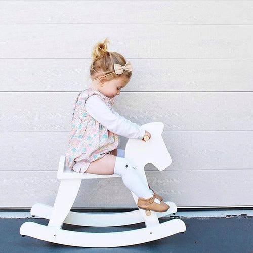 Nordic Style Wooden Trojan Horse Rocking Horses Model House Furniture Chair Play Game Toys For Girls Kids Xmas Gifts Ideas