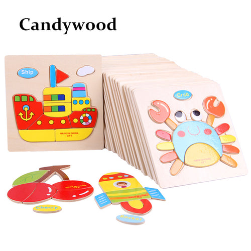 BabyLeila Kids 3D Puzzles Jigsaw Wooden Toys For Children Cartoon Animal Traffic Puzzles Intelligence Children Early Educational Toys