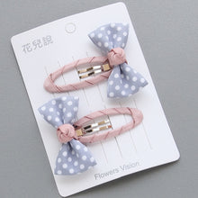 Load image into Gallery viewer, 2pcs/lot Newly Design Children Headdress Girls Cute Hair Clips Headwear Bow Dot Hairpins Hairring BB Clip Baby Hair Accessories