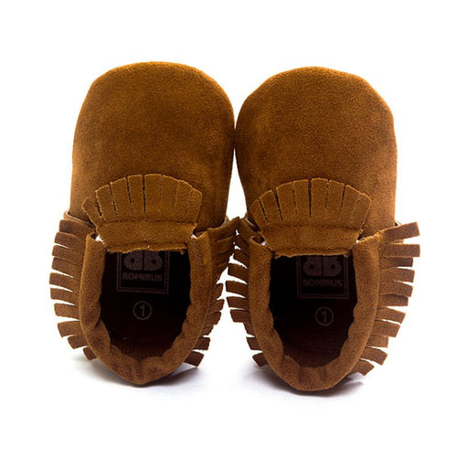 Kids Baby Shoes PU Suede Leather Newborn Boys Girls Soft Shoes Fringe Soft Soled Non-slip Footwear Crib First Walkers