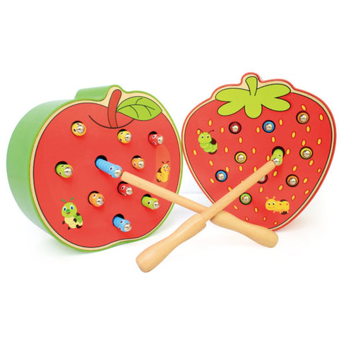 New! Fruit Shape Kids Wooden Toys Catch Worms Games with Magnetic Stick Montessori Educational Creature Blocks Interactive Toys