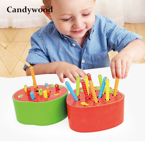 Candywood Catch Worms Game Magnetic Wooden Toys For Children Kids Early Educational Toy Baby Learning Wooden Blocks Boys Toys